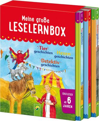 """Cover des Buches """"Meine große Leselernbox - Tier-, Hexen-, Detektivgeschichten"""""""